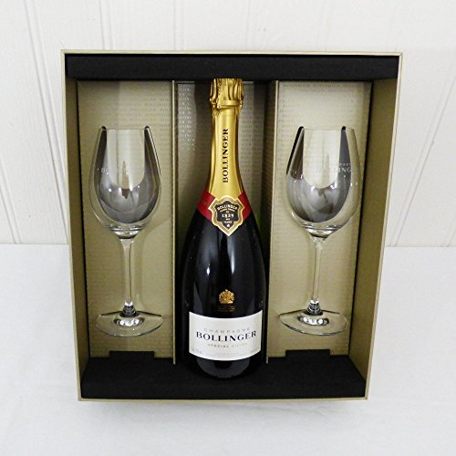 75cl Bollinger Champagne Gift Set with Matching Bollinger Glasses - Gift ideas for Christmas, Valentines, Mothers Day, Birthday, Wedding, Anniversary, Business, Corporate and Congratulations Presents