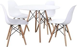 Noorsk Design Conjunto de Mesa Redonda y sillas para Comedor o Cocina (Sillas Blancas)