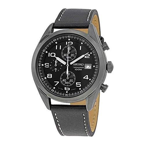 Seiko Herren Chronograph Quarz Uhr mit Leder Armband SSB277P1
