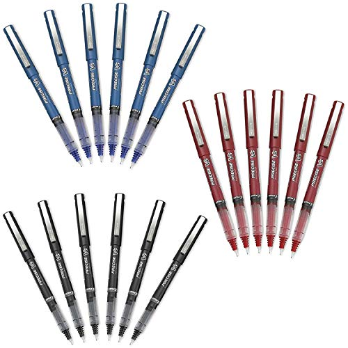Pilot Precise V5 Stick Rolling Ball Pens Extra Fine Point 18-Pens Black/Blue/Red Inks