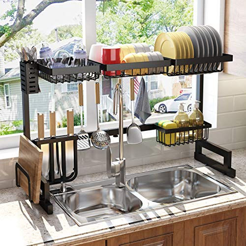 Over the Sink Dish Drying Rack, SAYZH Width Adjustable( Fit Small and Large Sink Size From 18 inches to 36 inches )Kitchen Drainer Countertop Organizer, Black
