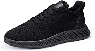 XUJW-Shoes, Athletic Shoes for Men Sports Shoes Lace Up Style Mesh Material Fashion Pure Color and Individual Sewing Durable Comfortable Travel Driving (Color : Black, Size : 7.5 UK)