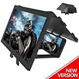 LAIKETE 12' 3D Mobile Phone Screen Magnifier, Anti-Blue Light Expander Magnifying Phone Screen Amplifier for Movie, Video, Game, Full Coverage Foldable Holder Stand, Compatible All Smartphones