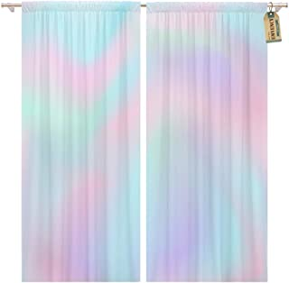 Golee Window Curtain Blue Iridescent Ombre Pink Gradient Color Pattern Pastel Rainbow Home Decor Rod Pocket Drapes 2 Panels Curtain 104 x 63 inches
