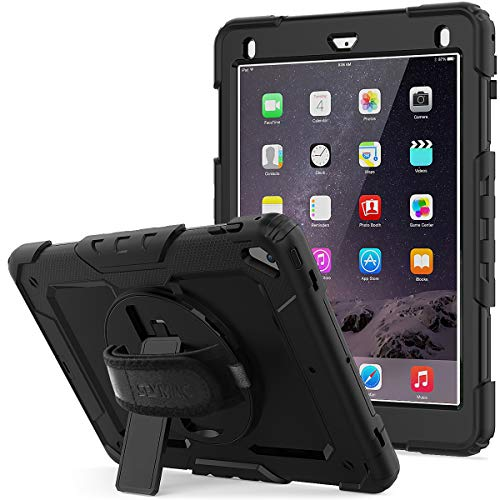 SEYMAC Stock iPad 6th/5th Generation Case, Shockproof [Full-body] Protective Case with 360 Rotating Stand Pencil Holder [Screen Protector] & [Hand Strap] for New iPad 2017/2018 (Black+Black)