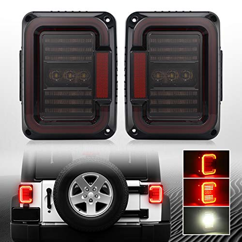 DOT Approved Smoke Lens LED Tail Lights with 20W Reverse Lights Compatible with 2007-2017 Jeep Wrangler JK&JKU Brake Reverse Light Rear Back Up Lights Daytime Running Lamps,EMC Build-in Review