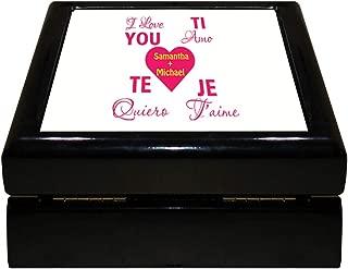 Style In Print Personalized Custom Text I Love You Ti amo Te Quiro Je Taime Wood Organizer Jewelry Box 4