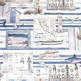 Hans-Textil-Shop Stoff Meterware Küste Meer Leuchtturm