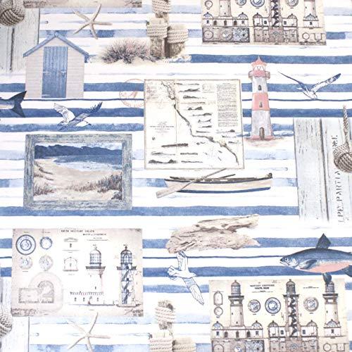 Hans-Textil-Shop Stoff Meterware Küste Meer Leuchtturm Möwe (Deko, Nähen, Tiere, Meereswelt, Maritim) - 1 Meter