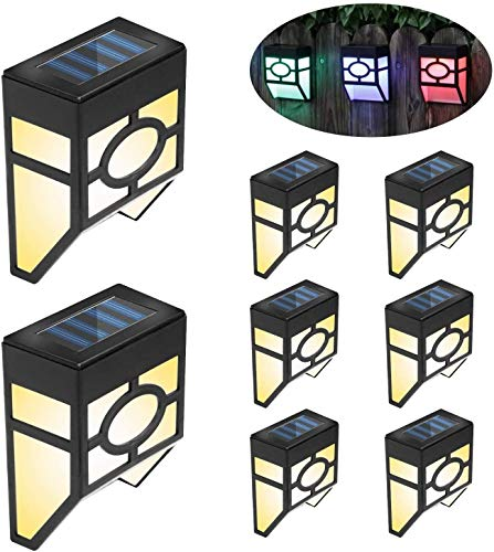6 Pack Solar Fence Lights, 2 Modes LED Solar Wall Outdoor Light, Waterproof Solar Lights Wireless Outdoor Lights for Deck Garden, Patio, Fence, Yard, Garden, Garage, Stairway, Gate, Wall led christmas