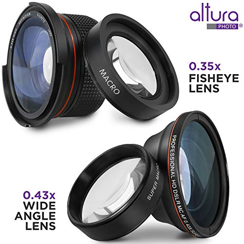 58mm Altura Photo Essential Accessory Kit for Canon EOS Rebel DSLR Bundle with Altura Photo Fisheye and Wide Angle Lenses