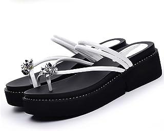 YNXZ-SHOE Sandals Ms Round Head Fashion Ideas Cozy Flip Flops Rubber Sole, Non-Slip/Breathable, White/Black, 35-40 Yards (Color : White, Size : 35)