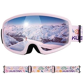 Ski Goggles Kids,OTG Snow Goggles Anti Fog Helmet Compatible Snowboard Goggles for Boys Girls