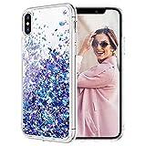 iPhone X Case, Caka iPhone Xs Glitter Case Liquid Series Girls Luxury Fashion Bling Flowing Liquid Floating Sparkle Glitter Cute Soft TPU Case for iPhone X XS (Blue Purple)