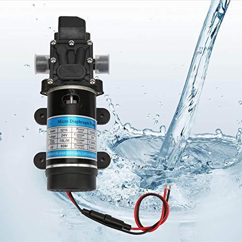 Jacksking Frischwasserpumpe, 12V/24V 120W elektrische Wasserpumpe 10L/m Membranpumpe selbstansaugende Sprühpumpe für Hochdruckreiniger(24 V / 5 A)