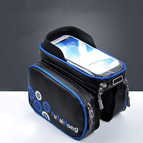 QQRH Bolsa para Cuadro de Bicicleta,Bolsa Impermeable para Bicicleta,con Pantalla táctil de Almacenamiento de Gran Capacidad y Orificio para Cualquier teléfono Inteligente de hasta 6.5 Pulgadas