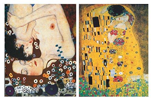 Cuadro Gustav Klimt : el Beso, la Maternidad. Set de 2 Unidades de 19 cm x 25 cm x 4 mm unid. Adhesivo FÁCIL COLGADO. Adorno Decorativo. Decoración Pared hogar