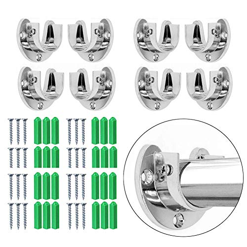 VintageBee 8 Pack Wardrobe Bracket Heavy Duty Stainless Steel Rod Socket Flange Rod Holder Closet Rod End Supports, 1-1/3' Diameter,U Shaped,Easy Installation Quick Removal Support