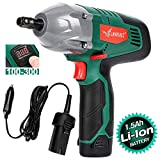 LANNERET Cordless Electric Impact Wrench Kit,Double Power(Battery-Powered or Corded-Electric),300 ft-lbs 400 N.M Torque,1/2 Inch 12 Volts Portable Car Impact Wrench,Digital Display Torque Adjustable