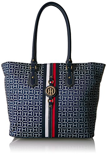 Tommy Hilfiger Travel Tote Bag for Women Jaden, Navy/White