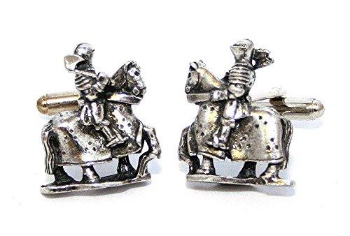 Boutons de Manchette Joutes des Chevaliers avec Boîte à Cadeau
