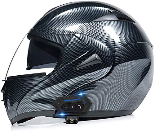Cascos abatibles con Bluetooth para motocicleta Cascos abatible Cascos integrales Casco de motocicleta Casco para scooter Scooter Doble visera para mujeres Hombres Adultos Certificación ECE E,S