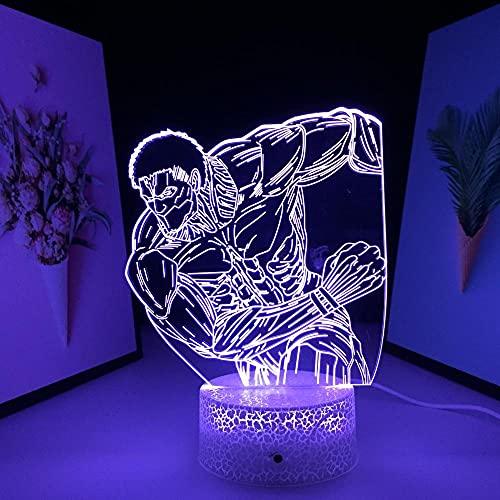 Lâmpada de mesa 3D Illusion Led Luz noturna Base de rachadura Titãs blindados aniversário interno -16 cores com controle remoto