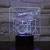 Creative Drum Set 3D Lamp 7 Color Change Remote/Touch Switch Led 3D Night Light Lights Instrumentos musicales Atmosphere Lamp 2301