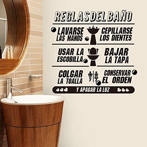 Blrpbc Adhesivos Pared Reglas Modernas del baño español Baño español Ducha Reglas del Lavabo Loo Decoración del hogar de Vinilo 81x79cm