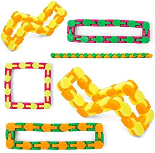 Snap And Click Fidgets, Set Of 6 Twist And Shape Puzzle Toy, 10.75 Inches (Assorted Colors) 24 Links Each For Sensory Relief Fidget, Party Favor, Stocking Stuffers For Home And School Reward