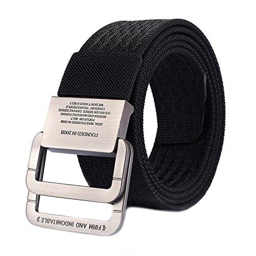 MESHIKAIER Unisex Cintura Militari in Tela Uomo Donna Elastica Cintura Outdoor Sport Cintura Fibbia in Metallo (Nero)