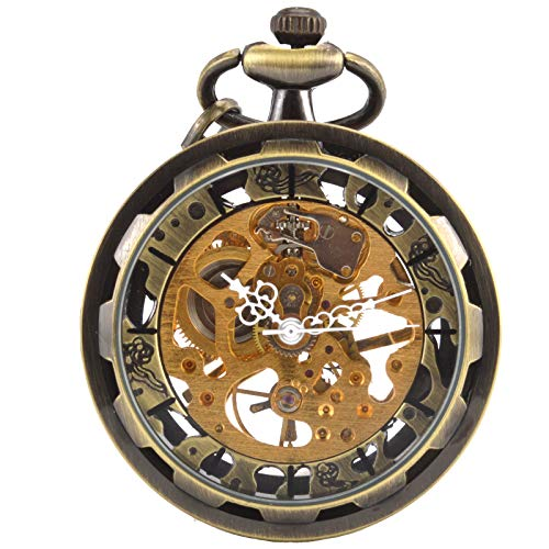 SIBOSUN Steampunk Transparent Open Face Pocket Watch for Men Women Skeleton Dial Antique with Chain + Box (Bronze)