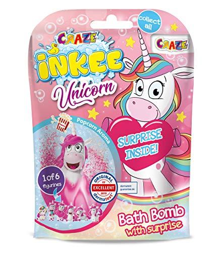 CRAZE- Bomba Infantil Juguete Regalo Sorpresa figurita de Unicornio. Sales de Baño Espumosas para Bañera o Piscina de Niños con Olor a Palomitas de Maíz, Multicolor (18378)