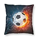 Fundas de almohada cuadradas decorativas de fútbol Ice Fire Football para silla de 66 x 66 cm