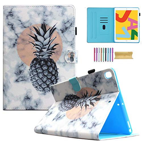 iPad 7th Generation Case,iPad 10.2 2019 Case, AMOTIE Slim Fit PU Leather Folio Stand Smart Soft Protective Cover with Pencil Holder, Auto Wake/Sleep and Wallet Pocket, Marble Pinapple