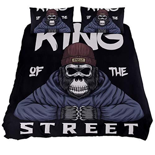 ASIGA Parure de lit 3 pièces avec housse de couette et fermeture éclair Motif tête de mort Gorilla King Street