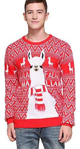 Men's Christmas Rudolph Reindeer Santa Holiday Knitted Sweater Cardigan Ugly Pullover (Medium, Llama)