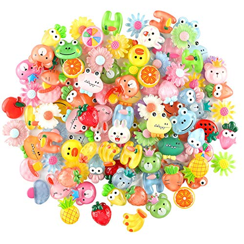 SUKPSY 50 Pcs Mix Translucent Jelly Color Resin Slime Charms Flatback Embellishments Making Supplies Buttons for Phone Case Scrapbooking Easter DIY Craft Hair Clip Headband (Translucent Jelly Color)