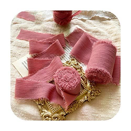 Hopereo Cinta de seda de gasa con bordes deshilachados de 50 mm, hecha a mano, rasgada, para boda, ramo de flores, decoración de invitación Flatlays Prop-118, color rosa coral, 5 cm x 5 m en carrete