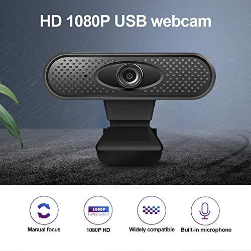 Opgewaardeerde webcam met microfoon, breedbeeld video bellen en opnemen, HD 1080p camera, desktop of laptop webcam, voor live-omroepen, online onderwijs, videoconferenties, werk en kantoor, online