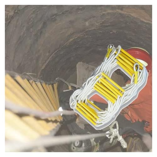 Rescate De Emergencia Escalera De Cuerda, Escalera por Desastres Evacuación Reparación De Paredes, Soporte Triangular Mosquetones Soportar hasta 420 Kg (Color : Yellow, Size : 12m/39.37ft)