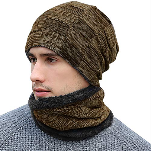 BOYOU Unisex Hombres/Mujeres Invierno Cálido Sombrero de Punto Al Aire Libre de Felpa Engrosamiento Gorro de Punto Sombrero de Esquí para el Invierno