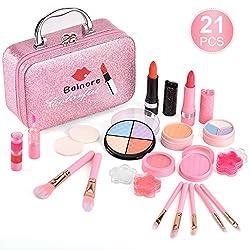 Ofertas Tienda de maquillaje: ❤KIT DE MAQUILLAJE PARA NIÑOS REAL: Diseñado para que las niñas se vistan, fomentando la imaginación y el juego creativo. ❤EL JUEGO DE MAQUILLAJE INCLUYE: 2 barras de labios, 2 sombras de ojos, 2 rubores, 3 brillos de labios, 2 polvos, 2 pinceles de ...
