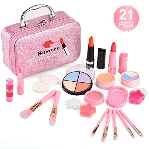 balnore Washable Makeup Toy Set, Safe & Non-Toxic,Real Cosmetic Beauty Set for Kids Play Game Halloween Christmas Birthday Party(Pink)