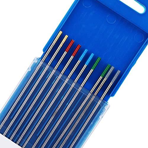 TEN-HIGH tig Electrodos de tungsteno Electrodos de soldadura, Embalaje mixto 2 cerio 2% (gris) + 2 tungsteno puro(verde) + 2 lantano 1.5% (oro) + 2 lantano 2% (azul) + 2 torio 2%(rojo), 2.4 x 150 mm