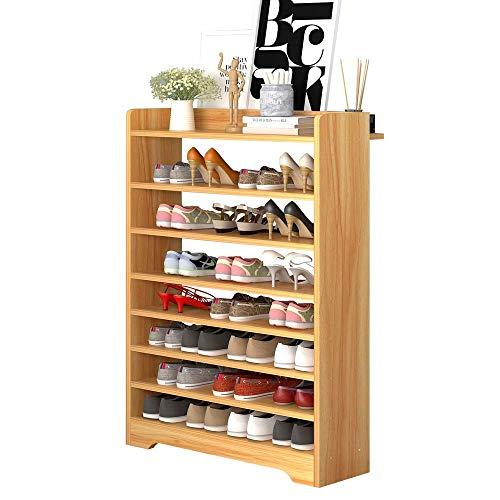 YAeele Bastidores de zapatos zapatero zapato Organizador plataforma de almacenamiento del gabinete Torres 8-Tier Sostiene 24 pares ahorro de espacio Fácil Ensamble (Color: nogal, Tamaño: 75 * 24 * 119