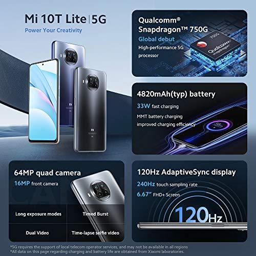 "Xiaomi Mi 10T Lite - Smartphone 6+64GB, 6,67"" FHD+ DotDisplay, Snapdragon 750G, 64MP AI Quad Camera, 4820mAh, Alexa Hands-Free, Bleu (Version internationale + 2 ans de garantie)"