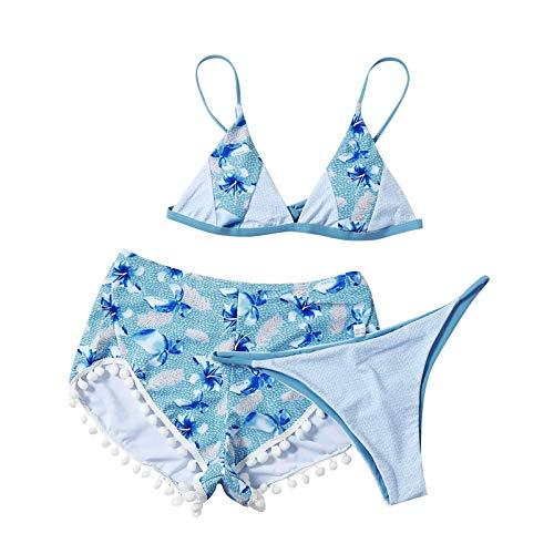 Kilwoe Bikini con Estampado de pétalos para Mujer, Sujetadores Ajustables con Cuello en V Profundo, Bragas de Cintura Media, Traje de baño Azul