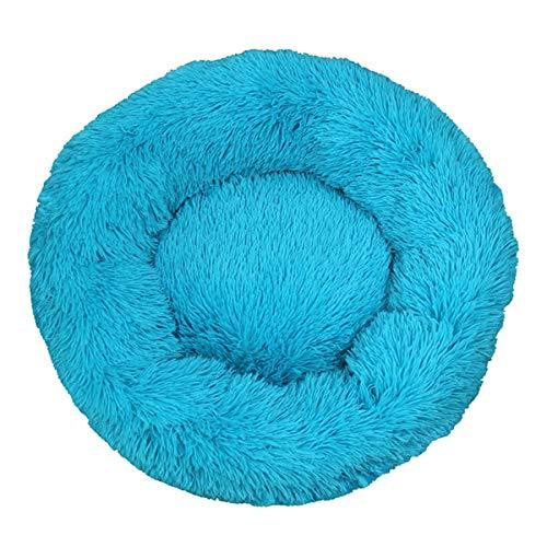Deluxe - Cuccia per cani e gatti di piccola taglia e media, lavabile, cuscino rotondo per cani e cani di piccola taglia (Φ 40 cm, blu)