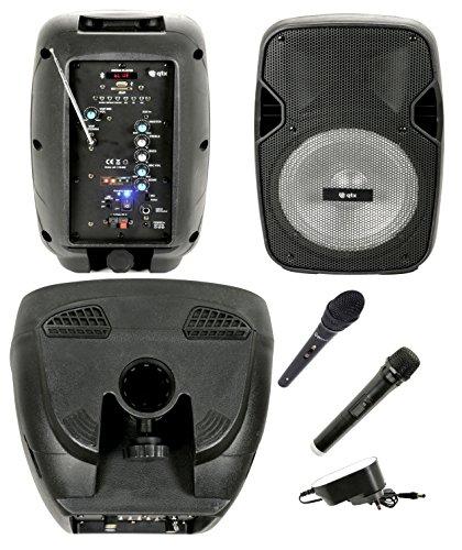 Caja Acústica Amplificada activa (altavoz Karaoke portatil recargable con Bluetooth, Radio, Echo, Eco, USB, SD, MMC, MP3, WMA, micrófonos inalámbrico, entrada Guitarra, ecualizador Ed efecto luz LED